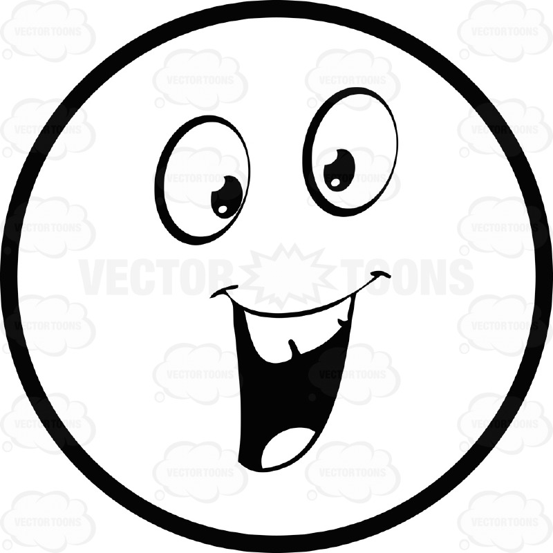 800x800 Friendly Large Eyed Black And White Smiley Face Emoticon With Open