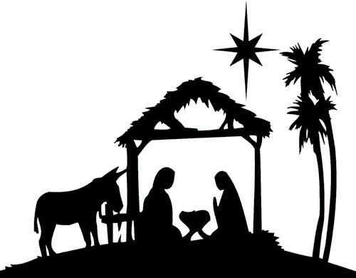 Black And White Nativity Scene | Free download on ClipArtMag