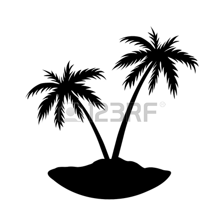 450x450 One Palm Tree On Island. Black Coconut Tree Silhouette Isolated