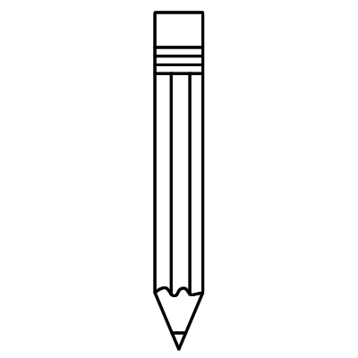 400x400 Pencil Clipart Black And White