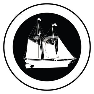 300x300 Image Black And White Pirate Ship In A Circle