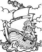 162x200 Pirate Ship Black And White Stock Vectors