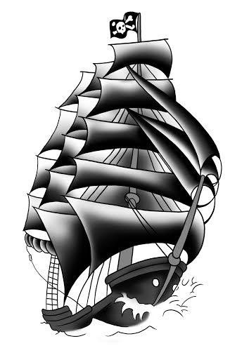 354x496 Pirate Ship Tattoos Designs