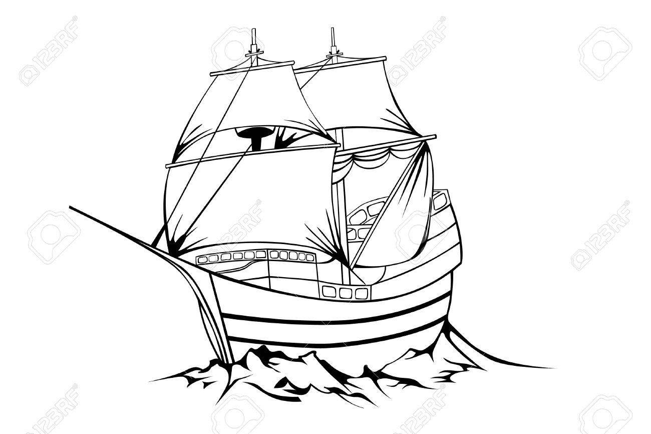 1300x866 Pirate Ship Line Drawing Black Sailboat On White Background
