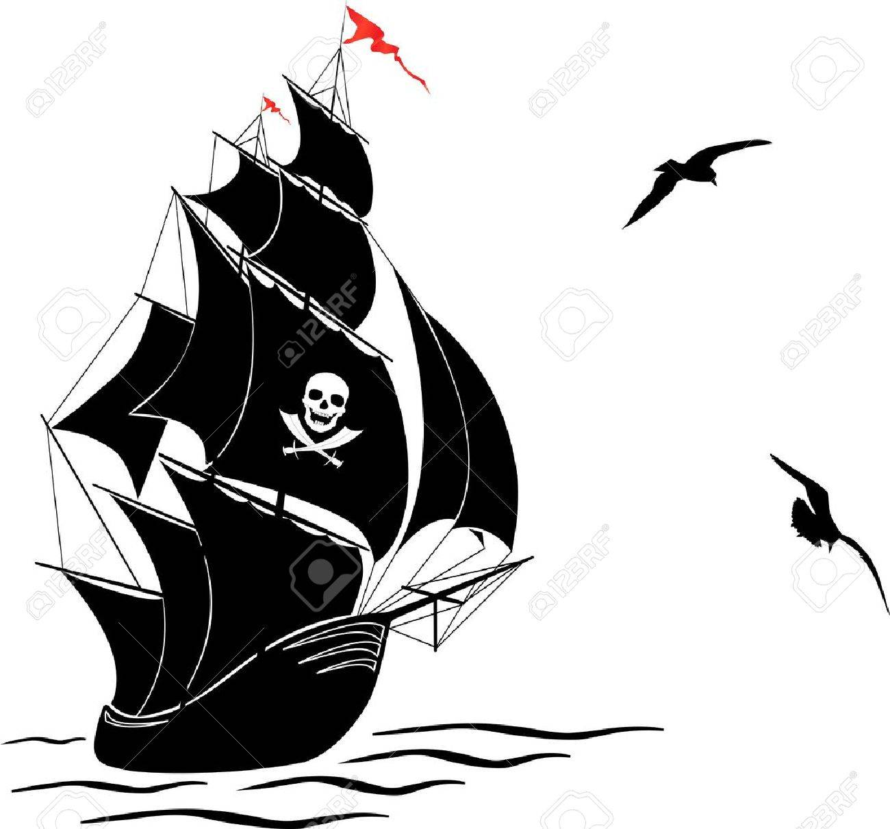 1300x1211 A Silhouette Of A Old Sail Pirate Ship And Two Gulls