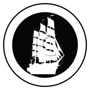 300x300 And White Pirate Ship In A Circle Clip Art Image