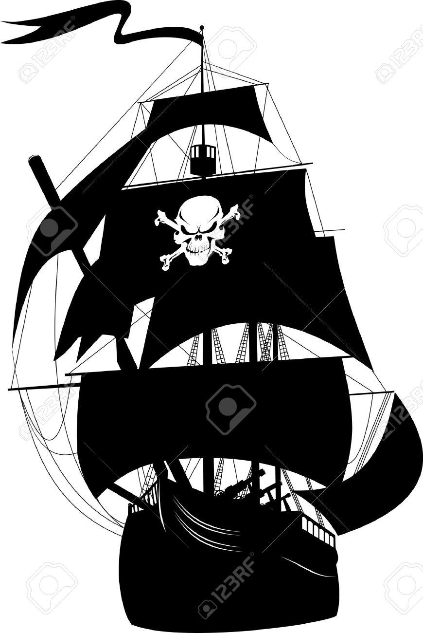 870x1300 Pirate Ship Silhouette Clipart
