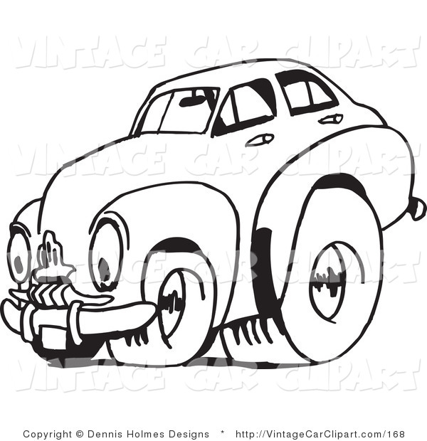 600x620 Clipart Of A Black And White Vintage Racing Fj Holden Car By