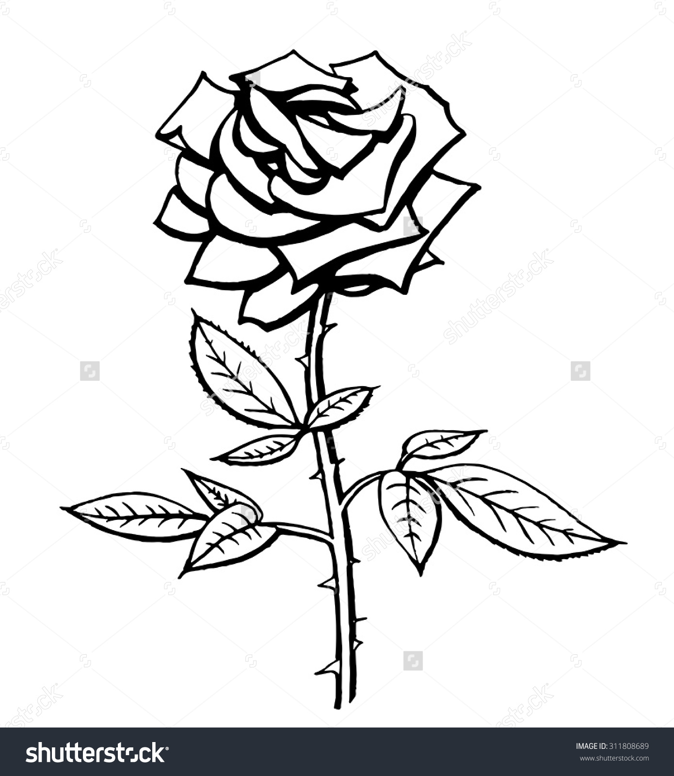 1390x1600 Black And White Rose Drawing Vector Black White Rose Drawing