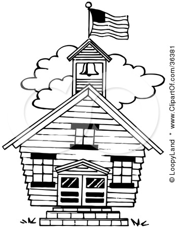 349x450 Black And White School Building Clipart