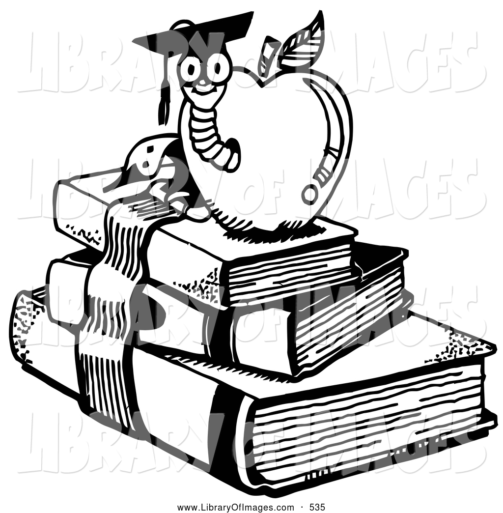 1024x1044 Clip Art of a School Graduate Worm Emerging from an Apple Atop