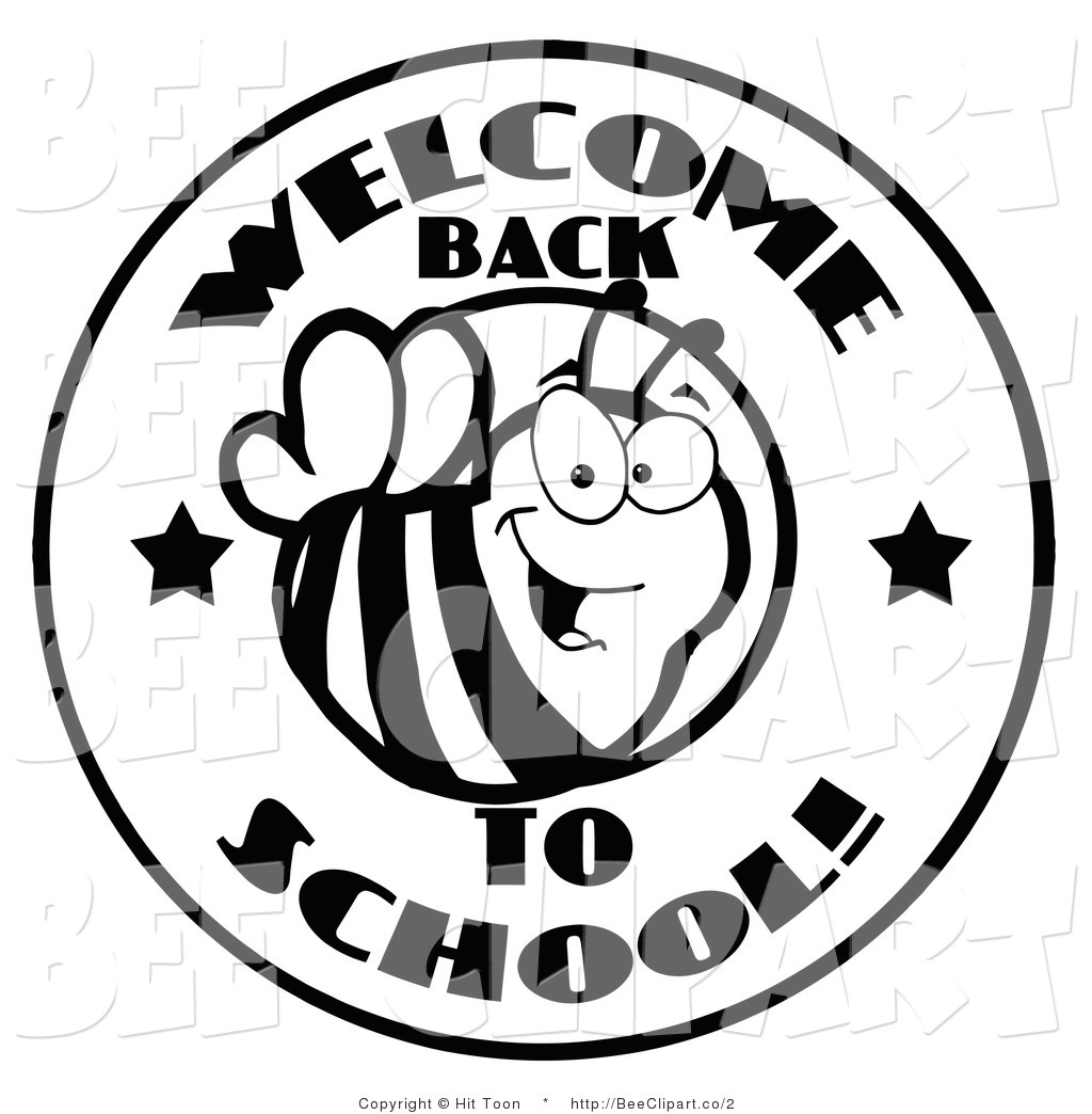 1024x1044 Clip Art Of A Welcome Back To School Bee Circle In Black And White