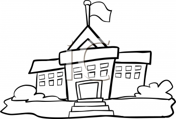 350x236 Clipart Black And White School Building