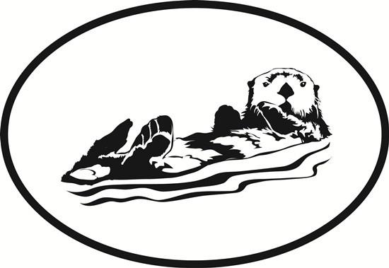 550x379 Sea Otter Oval Euro Bumper Sticker Oval Envy