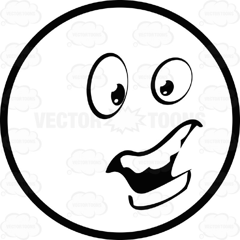 800x800 Large Eyed Black And White Smiley Face Emoticon Talking, Open