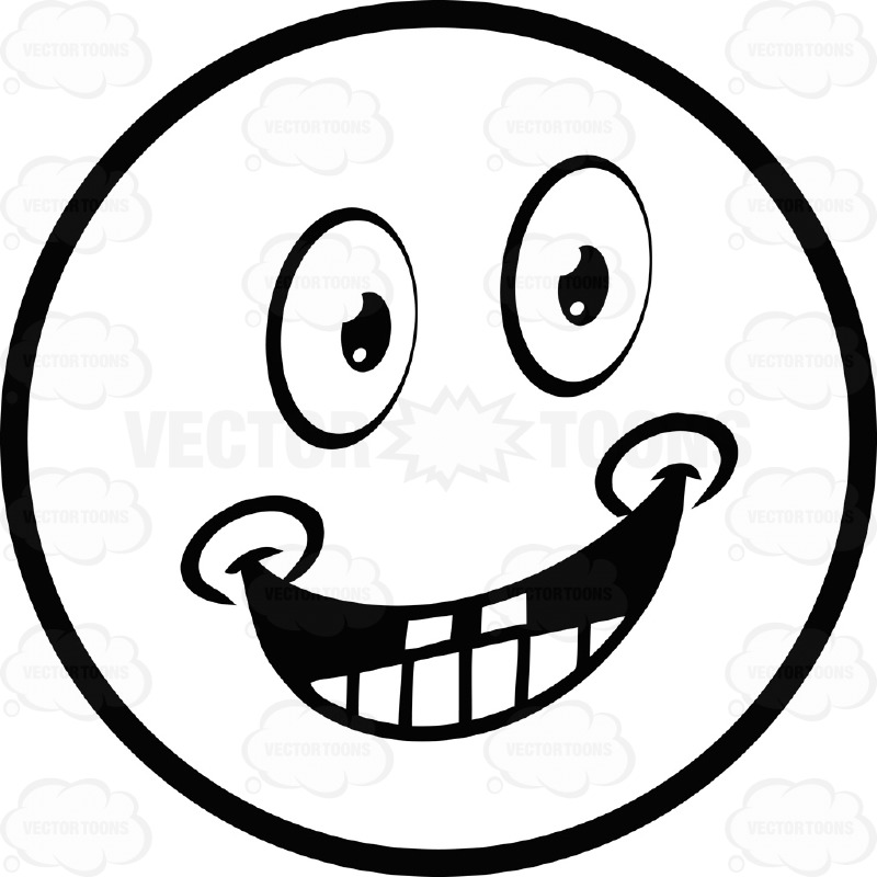800x800 Smiling, Dimpled Large Eyed Black And White Smiley Face Emoticon