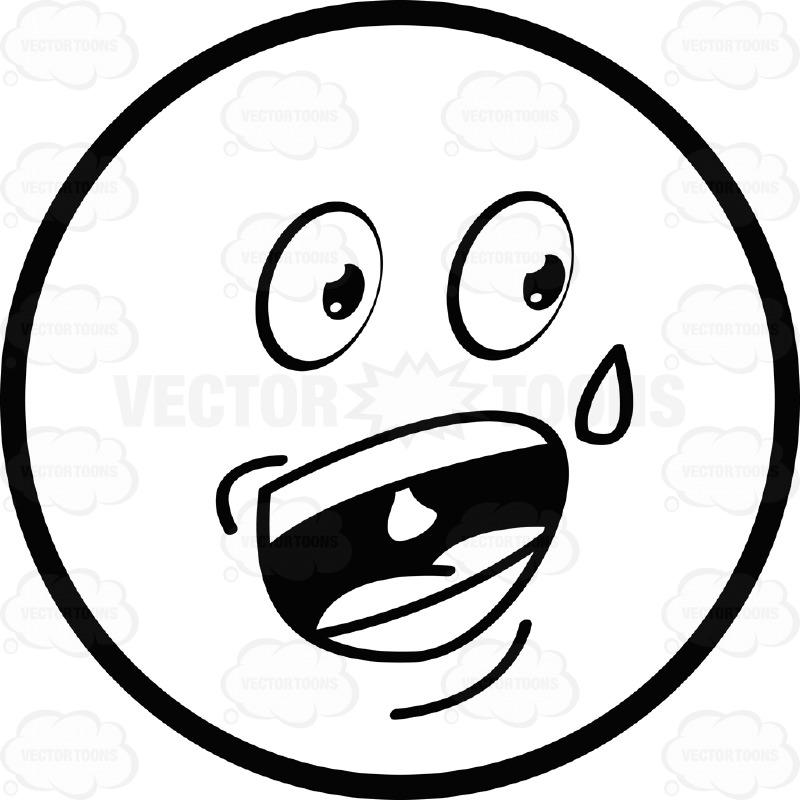 800x800 Nervous Talking Sweating Large Eyed Black And White Smiley Face