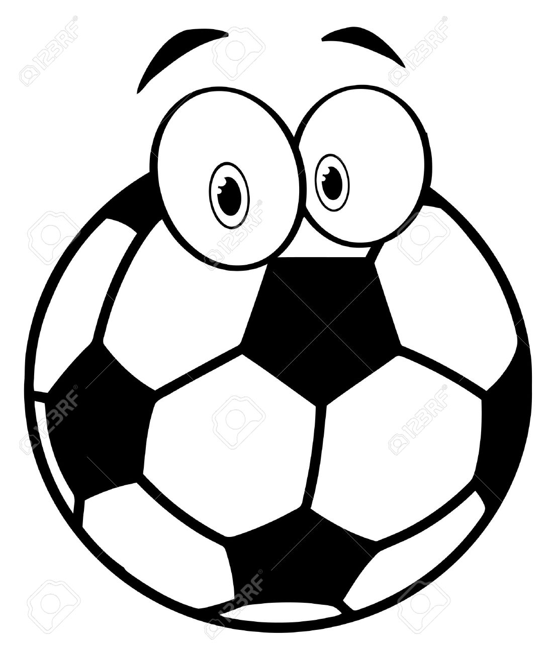 1090x1300 Outlined Cartoon Soccer Ball Royalty Free Cliparts, Vectors,
