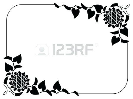 450x334 Sunflower Clipart Of A Black And White Sunflower Royalty Free