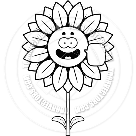 460x460 Talking Sunflower (Black And White Line Art) By Cory Thoman Toon