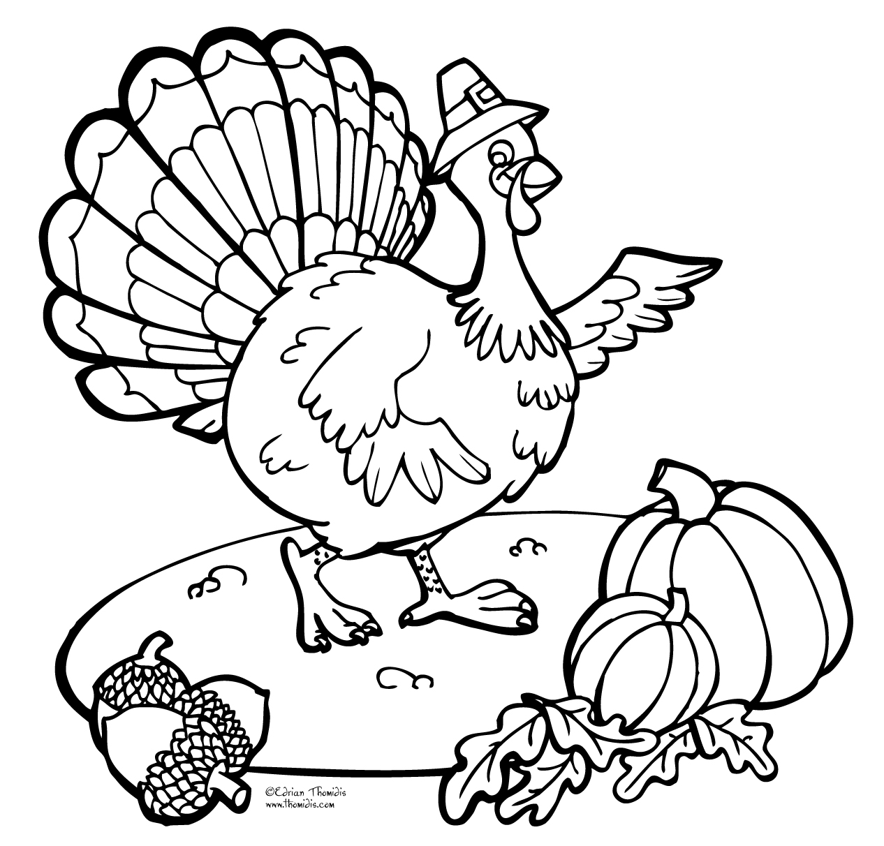 1266x1212 Thanksgiving Coloring Clip Art