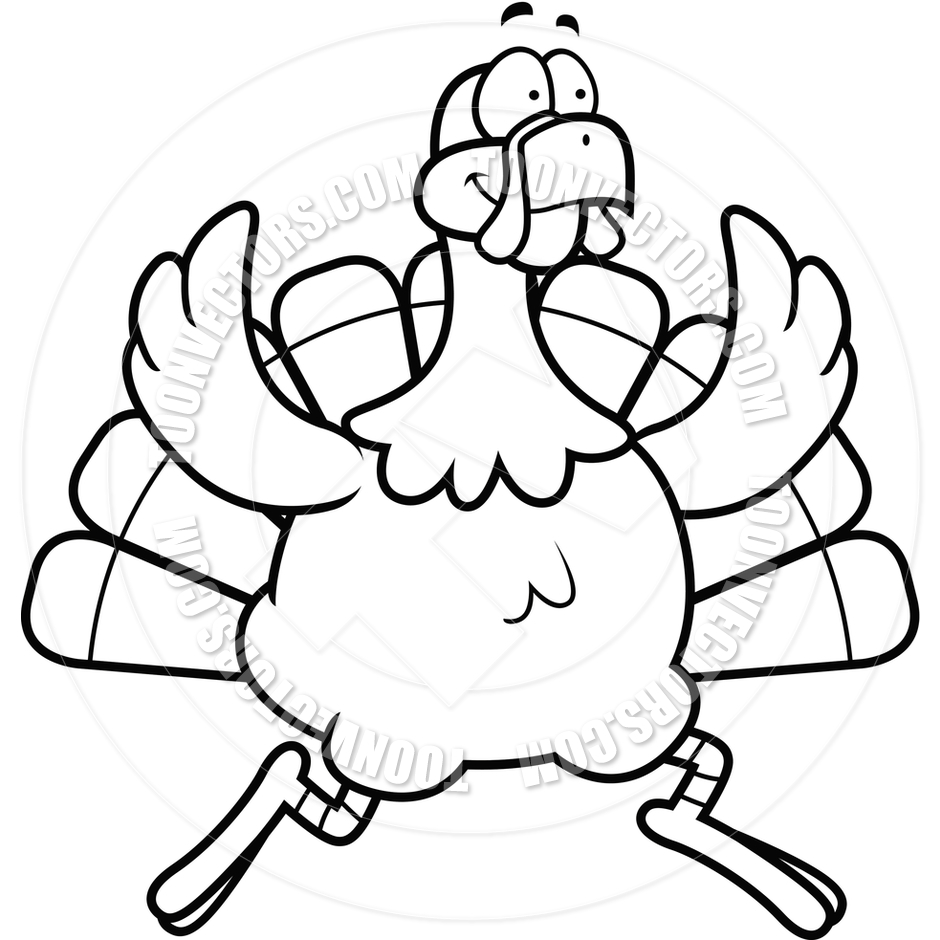 940x940 Turkey Running (Black And White Line Art) By Cory Thoman Toon