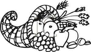 300x171 Cornucopia Clip Art Black White Clipart Panda