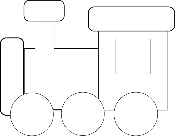 Black And White Train Clipart
