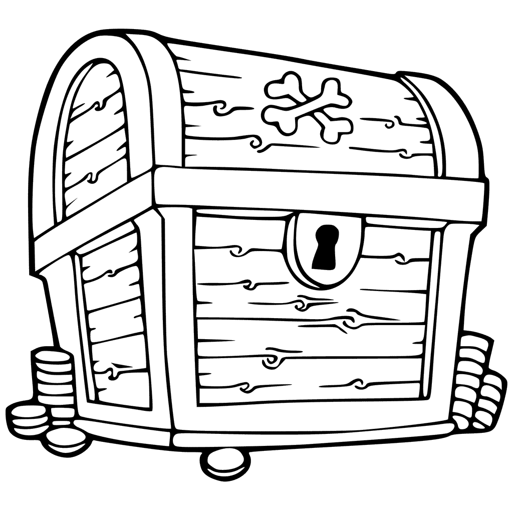 1024x1024 Treasure Chest Coloring Pages