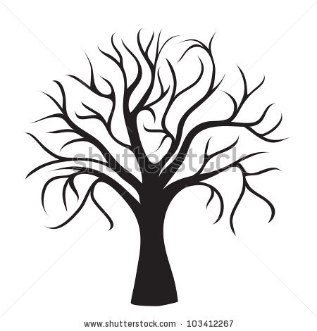 450x470 Drawn Tree Black And White