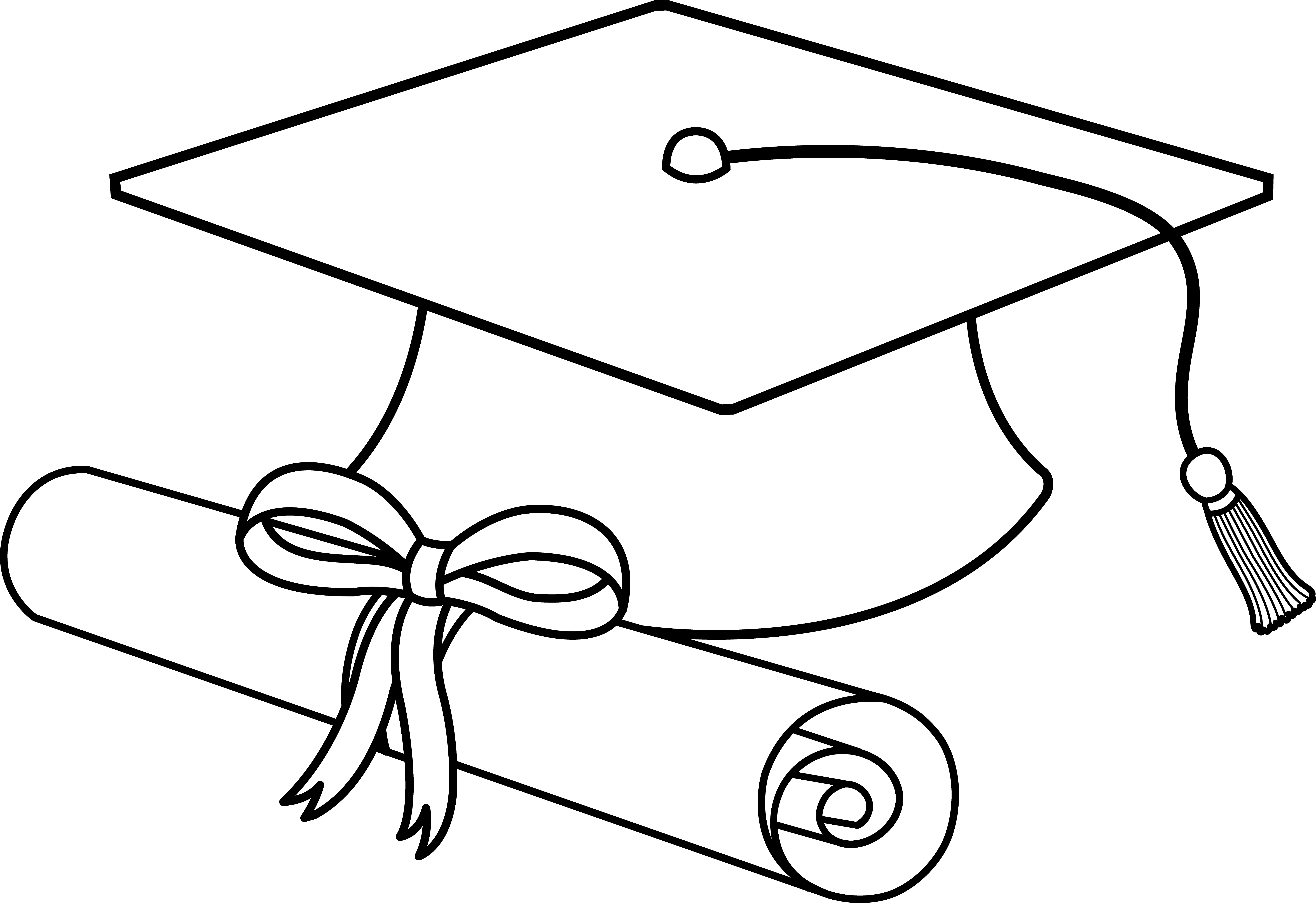 black and white vector for graduation cap clipart free download