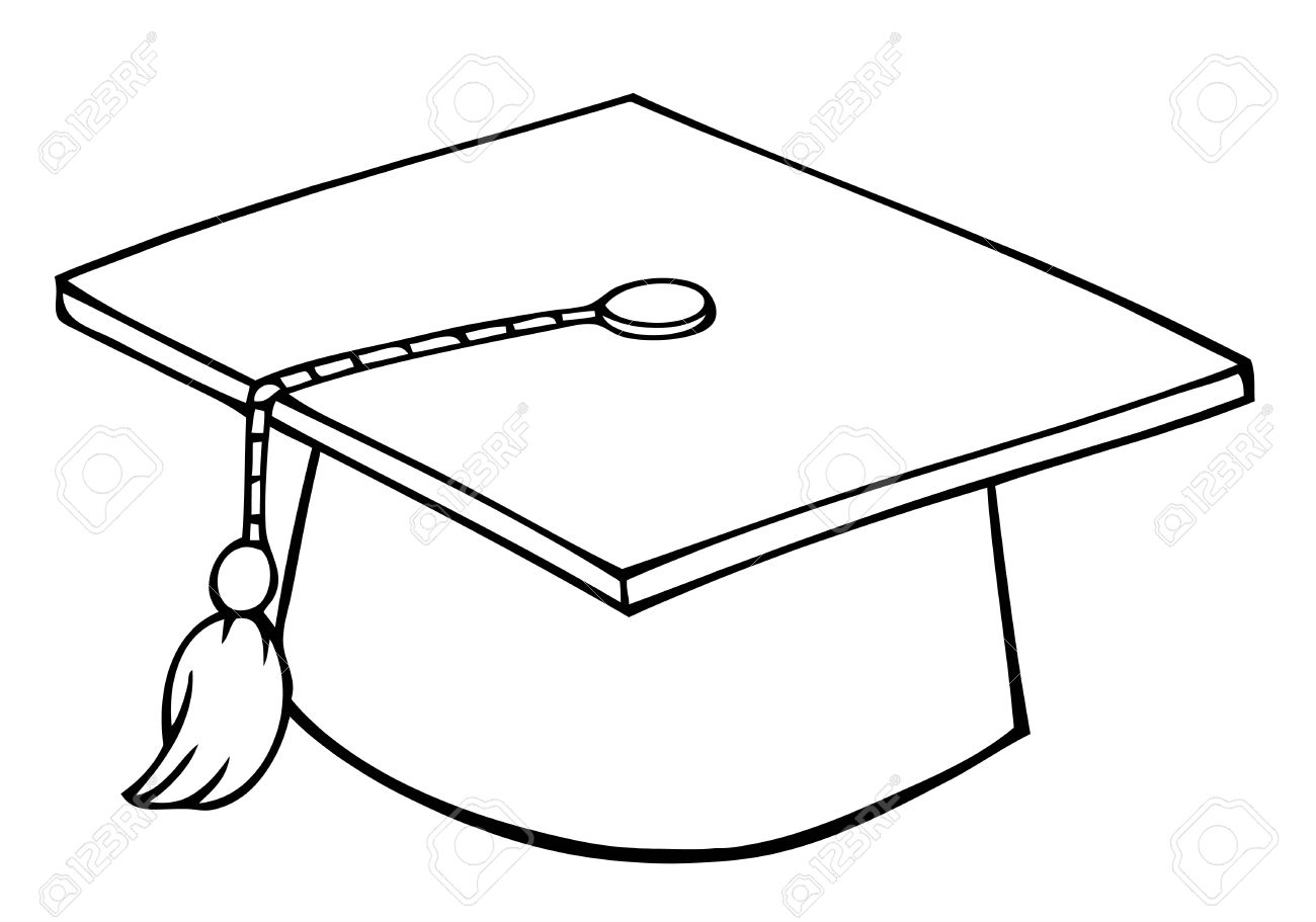 1300x911 Outlined Graduation Cap Royalty Free Cliparts, Vectors, And Stock
