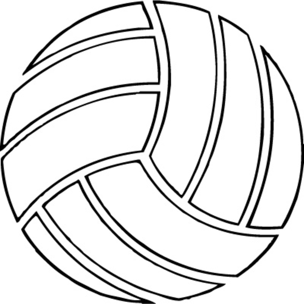 599x600 Free Volleyball Clipart Black And White 3