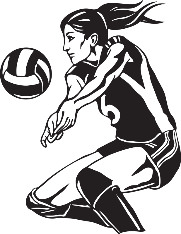 618x800 Free Volleyball Clipart Black And White Free