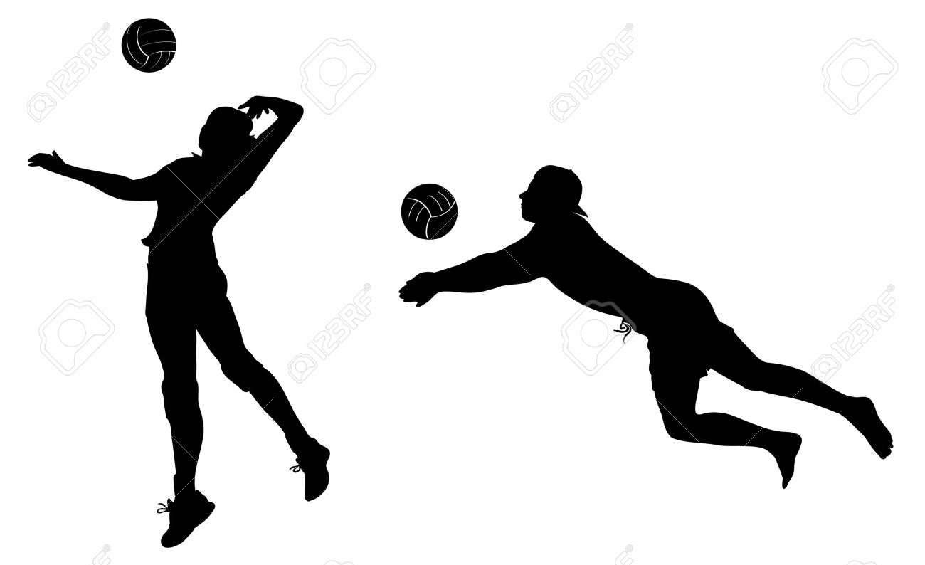1300x794 Volleyball Players Black Icons. Clip Art. Royalty Free Cliparts