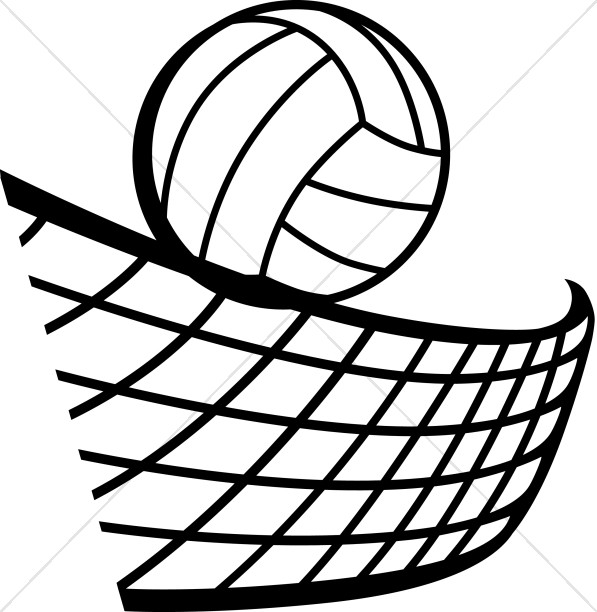 597x612 Volleyball In Black And White Youth Program Clipart