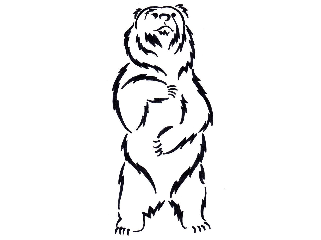 1280x960 Drawing Of A Bear Standing Black Bear Drawing Clipart Panda