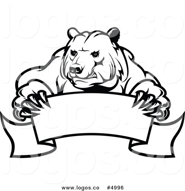 600x620 Royalty Free Vector Of A Black And White Bear And Banner Logo By