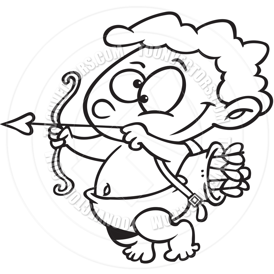 940x940 Cartoon Cupid (Black And White Line Art) By Ron Leishman Toon