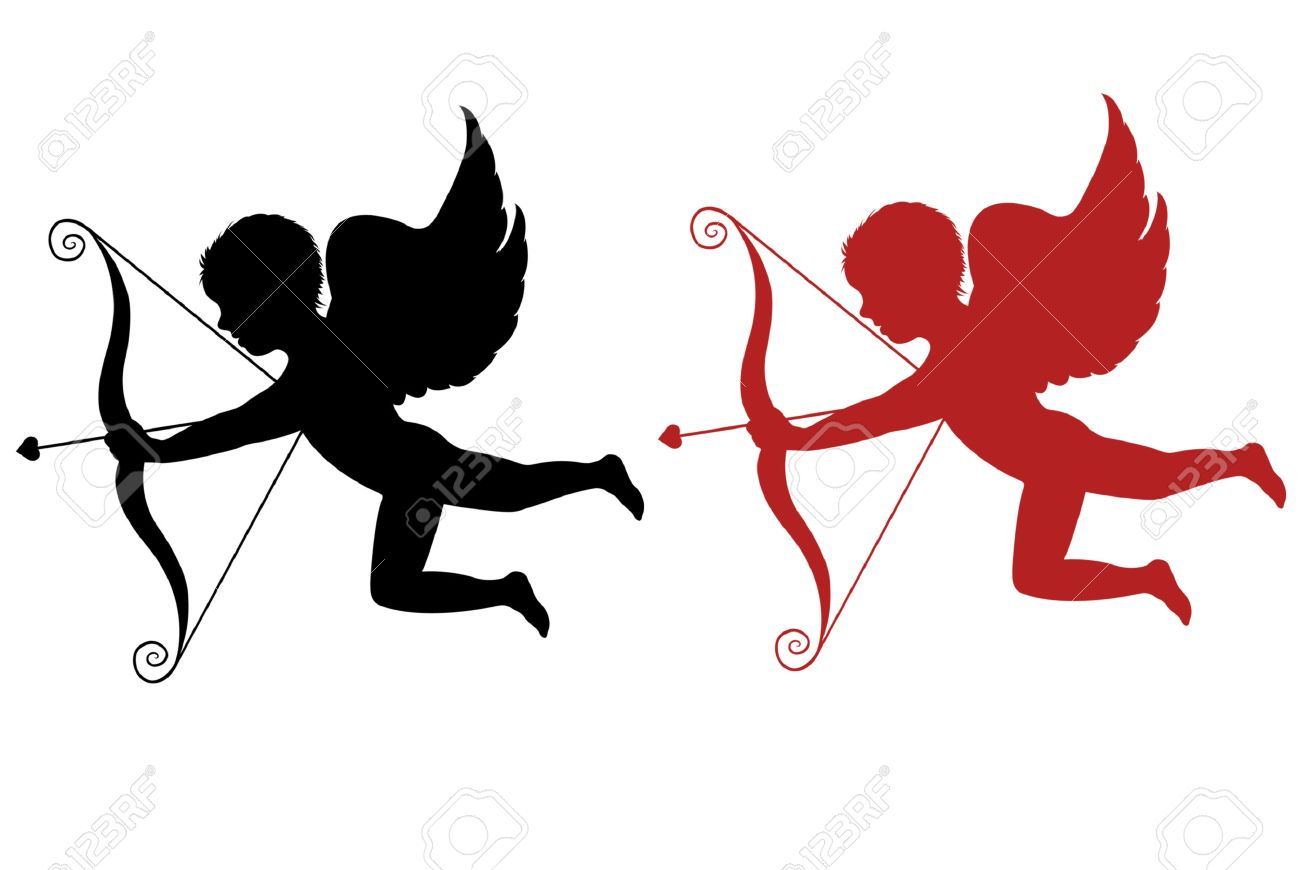 1300x870 Red And Black Cupid Isolated On White Background Royalty Free