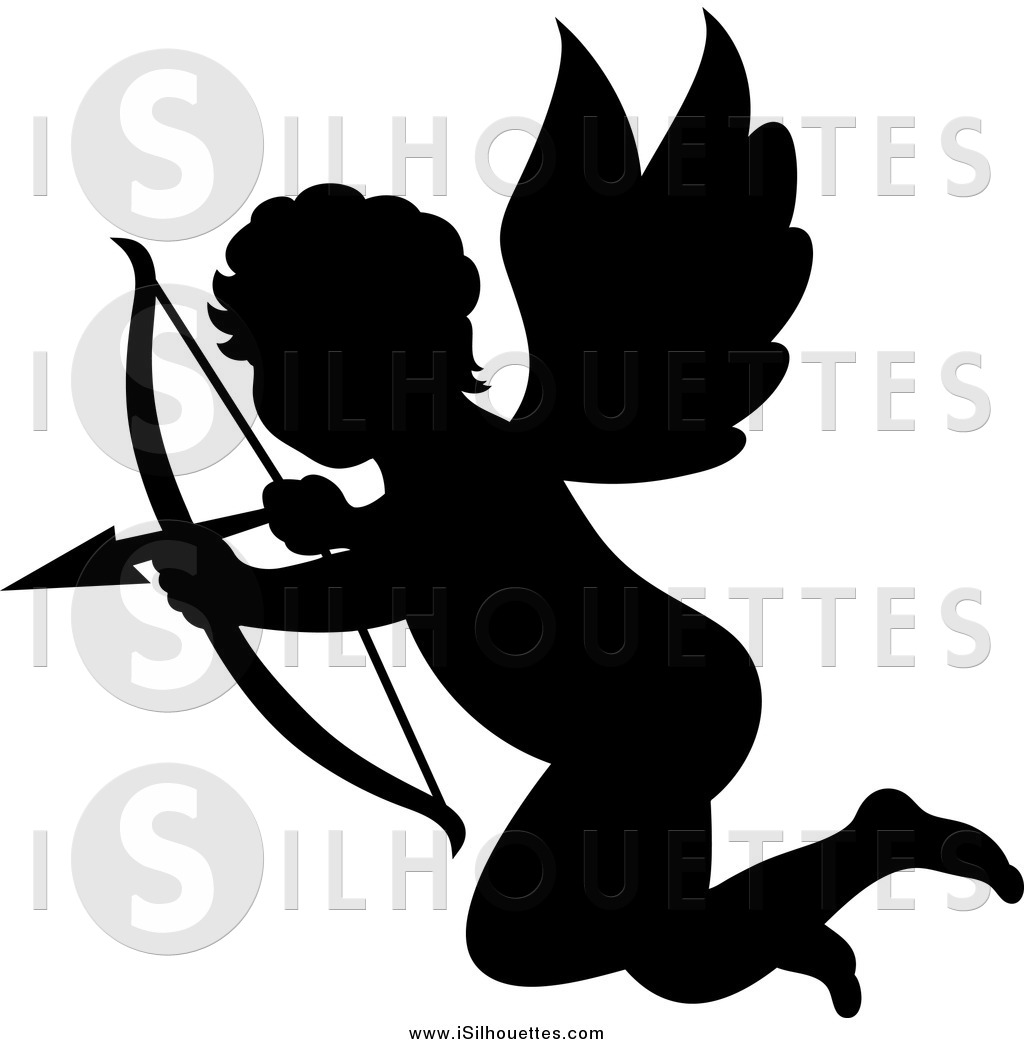 1024x1044 Clipart Of A Silhouetted Black Cupid Aiming His Arrow By Vector