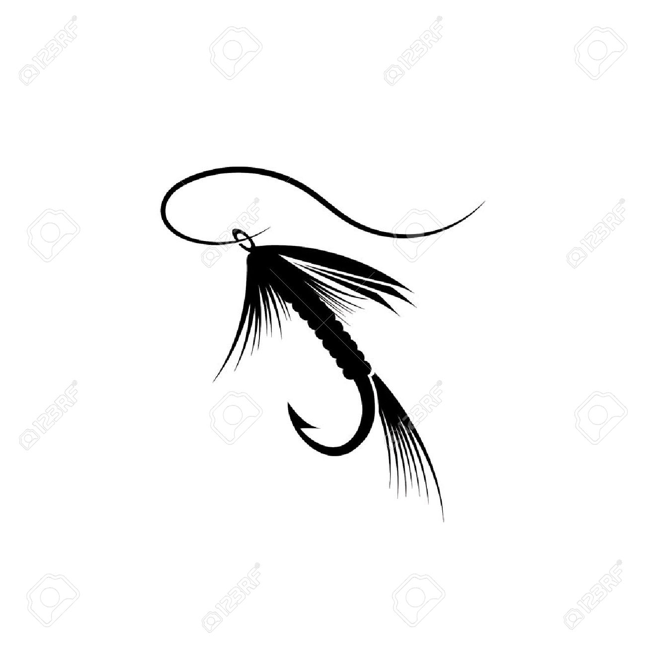 1300x1300 Clipart Of Fly Fishing