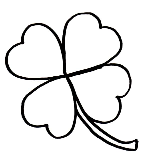 600x661 Rare Four Leaf Clover For Good Luck Coloring Page