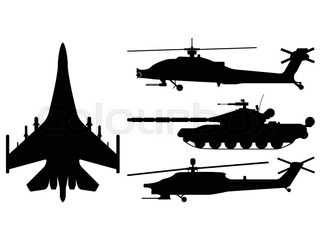 320x239 Fighter Aircraft, Tank, Helicopter In Silhouette, Cartoon, Outline