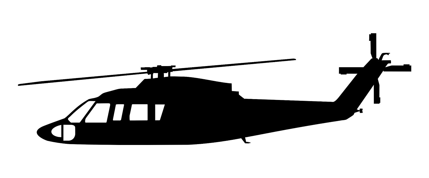 1500x625 Sikorsky S 76 Helicopter Decal In Black Automotive