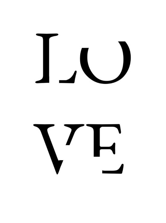 550x739 Love Art Print, Love Typography, Love Print, Monochrome Art Print