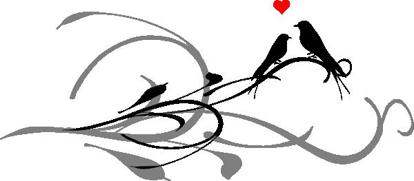 600x263 Love Birds On A Branch Black Dark Grey Clip Art