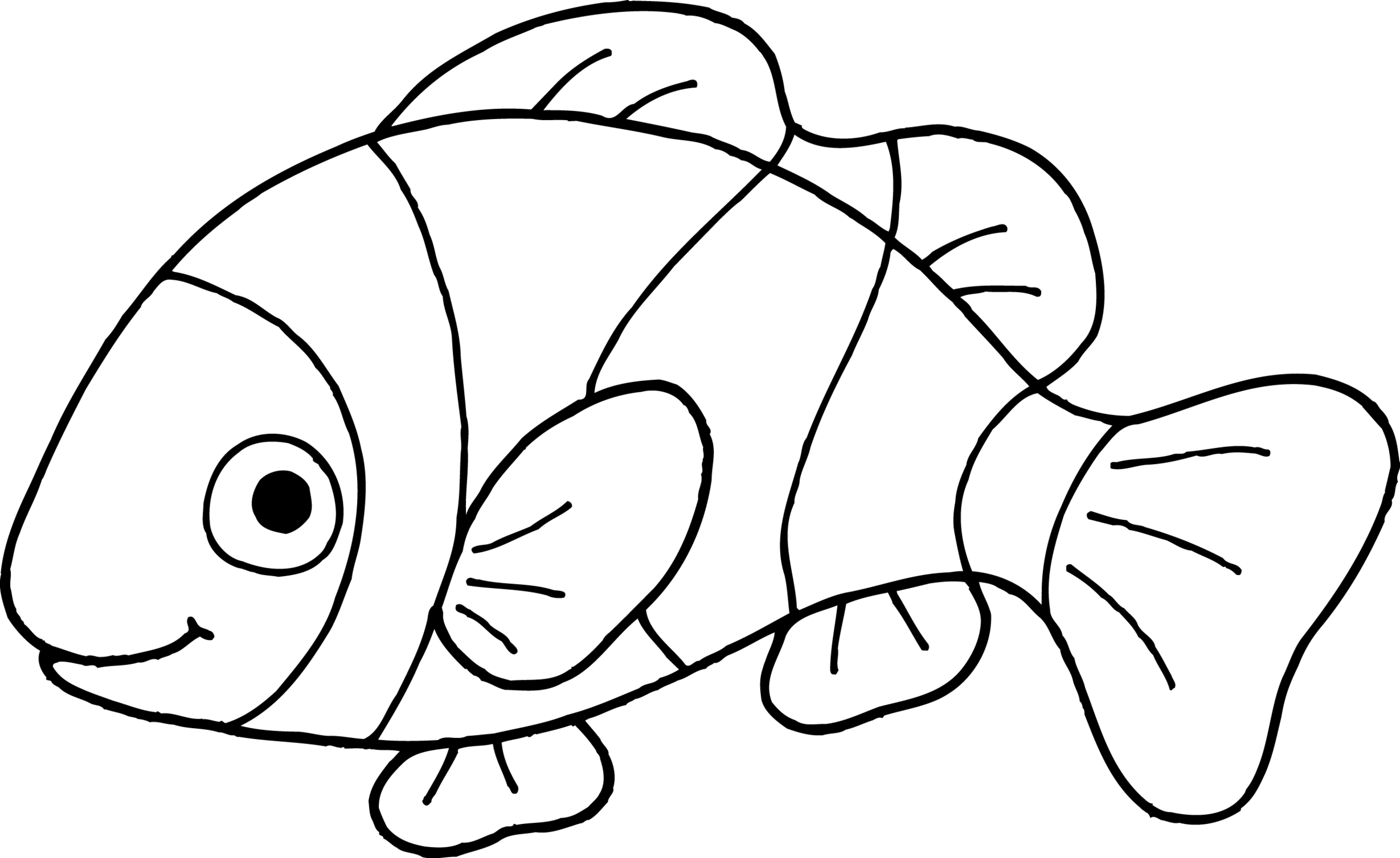 2458x1507 Clownfish Clown Fish Outline Clipart Wikiclipart