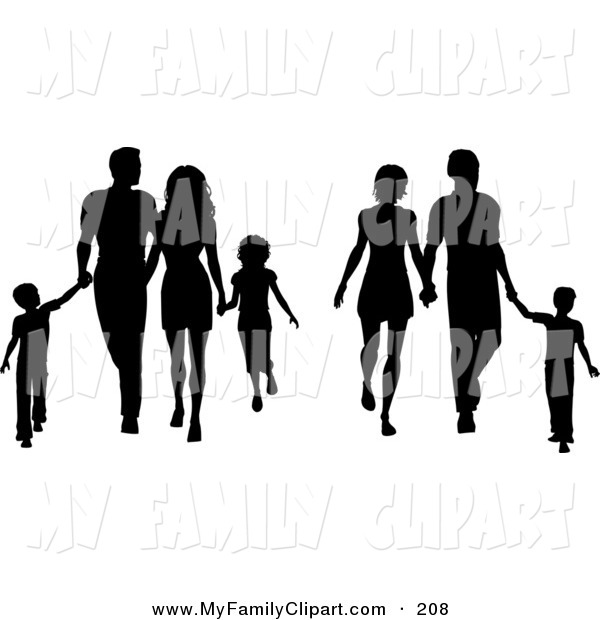 600x620 Clip Art Of A Couple Of Black Silhouetted Families With Children