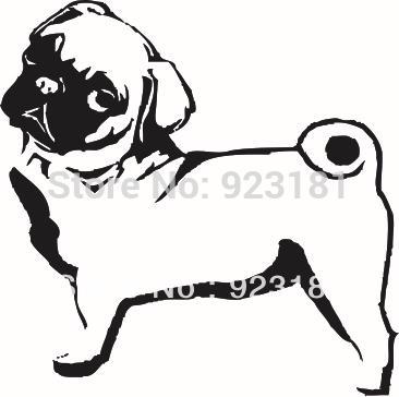 366x364 Home Decor Wall Sticker Hot Animal Pug Dog Vinyl Wall Art Sticker